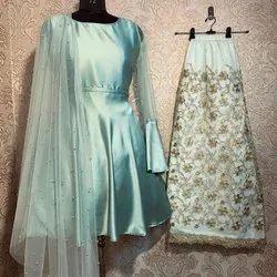 Santoon Party Wear Kurti With Palazzo, Wash Care: Machine wash