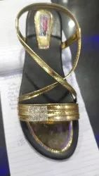 Sole pu Solid Black golden flat slipper, Size: 6 To 10