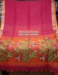 Woven Red Silk Linen Jamdani Saree, 6.5 m with blouse piece