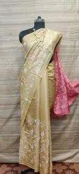 Katan Silk Embroidery Work Saree