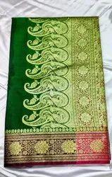 Border Casual Wear TRT 6 M Green Satin Laccha saree