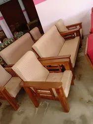L Brown Wooden Sofa Set