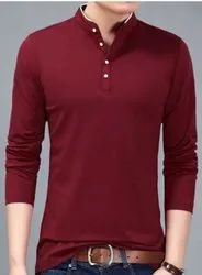 Full Sleeves Red Cotton rounde necked tshirt for mens, Size: XL