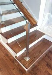 Flat glass Staircase wooden railing