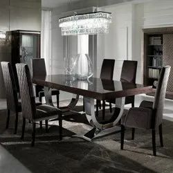Premium Quality Of Teak Wood Black And Silver Marble Top Dining Table