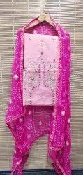 aala creation Chanderi Silk Gota Patti Suit Material