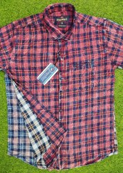 Collar Neck Indigo Checks Shirts, Machine wash