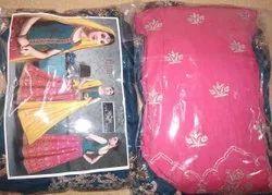Full Zari Work Neck Style Garba Ghagra Choli, Handwash