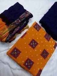 Swati Print Orange And Blue Colour Satin Cotton Bandhej Printed Suit, Machine wash