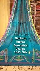 NIMBARG Party Wear Matka Silk Geometric Design Sarees 100% Silk Handloom, With blouse piece, 6.5 mtr