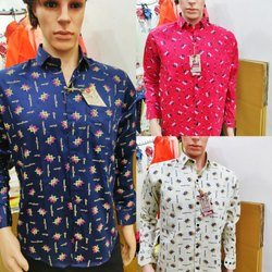 Cotton Simple Collar Men Printed Shirt
