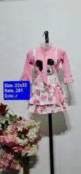 R Pink Full Sleeves Kids Skirt Top