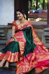 Patron Texofab Zardozi Work South Indian Soft Silk Saree, 6.3 m (with blouse piece)