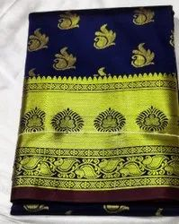 Border Navy Blue and Green TRT 6M Satin Anchal Sholder Saree, 6 m (with blouse piece)