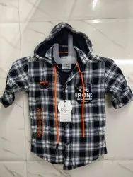 Cotton Regular Wear Kids Stylish Check Printed Hooded Shirt
