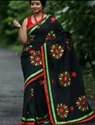 Handloom with applique  cotton saree