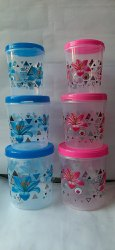 Transparent Plastic Round printed Container, Capacity: 1kg + 2 Kg + 3 Kg, Size: 1000ml+2000ml+3000ml