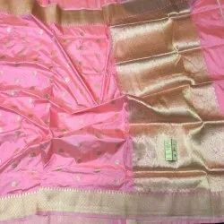Real Zari Gold Party Wear Pure Banarasi Handloom Silk Saree