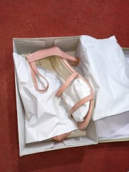 Peach High Neck Heel Sandal, Size: 5-9