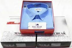 Full Sleeves Multicolor Mac Bear Linen Slub Plain Shirt