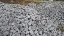 Gray Hand Cutting Cobble Stone 100x100x50mm, For Pavement