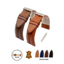 Vintage Double Bar Padded Leather Strap