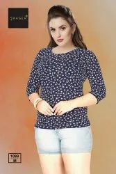 Round Casual Wear Ladies 3 4th Sleeve T Shirt