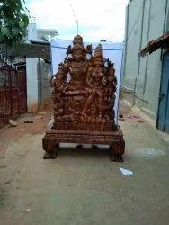 Lord Shiva Parivar Wooden Statue 5 Ft