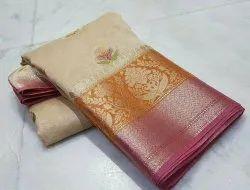 Banarasi Silk Linen Hand Painted Sarees