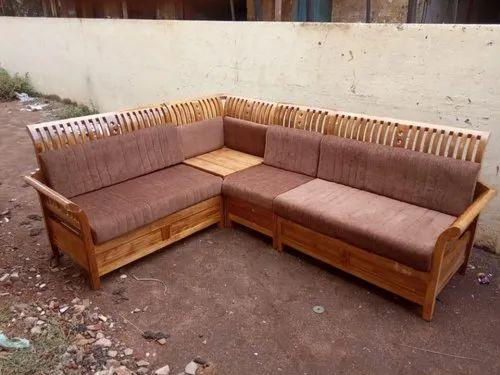 Teak Wood L Shape Wooden Corner Sofa, Teak Wood Corner Sofa Set Designs Pictures