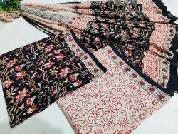 Indigo Natural Hand Block Cotton Suit Fabric