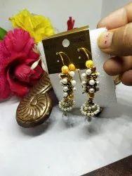 Golden Brass Hangigng jhumki and earrings