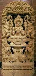 Wooden Gajalakshmi Statue