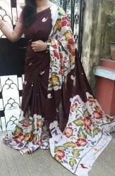 Mulmul Cotton Hand Mom Batik Printed Sarees