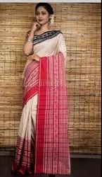 Party Wear Plain Ladies Off White And Red Handloom Cotton Saree, With Blouse, 6.3 m