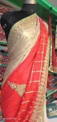 Red Wedding Designer Saree, With blouse piece, 5.5 m (separate blouse piece)