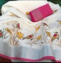 Party Wear Cotton Slab Embroidery Saree With Running Blouse