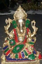 Statue, Sculpture Multicolor Brass Ganesh Statue With Stone Work, Size: W: 10 Kg H : 12 Invh
