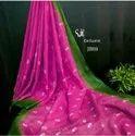 Linen Tye Dye Embroidery Work Sarees