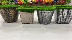 Ceramic Round,Square Grass Decorative Pot, For Decoration, Size: 3