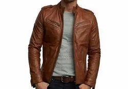 Brown Plain Leather Jackets
