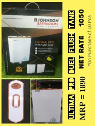 Johnson White Bathroom Flush Tank, For Toilet