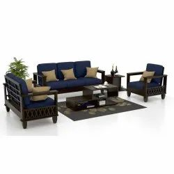 Wooden Fabric Sofa Set Pure Navy Blue, For Home hotel office