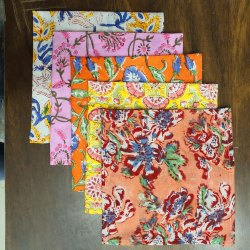 Printed Hand Block Cotton Napkin, For Home, Size: 16 X 16 Inch