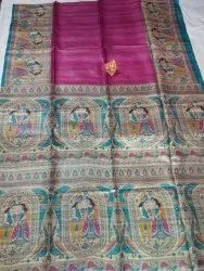 Tassar Ghichcha Madhubani Printed silk saree, 6.3-6.5 m (with blouse piece)