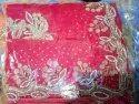 K.Z.a Red Fine Georgette Handmade Saree