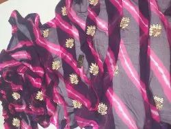 Party Wear Embroidered Pure Chiffon Saree, With Blouse Piece