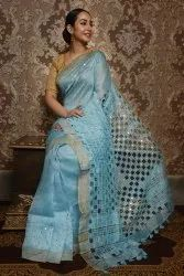Party Wear Tishu Sillk cut wark embroidery Saree, 6.3 m (with blouse piece)
