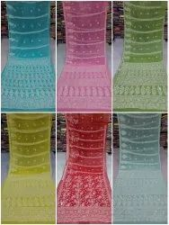 Multicolor Casual Wear Embroidered Chiffon Saree, With blouse piece, 6.5m