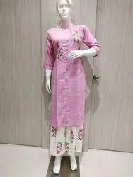 Cotton Casual Wear Ladies Kurti With Plazo, Wash Care: Machine wash
